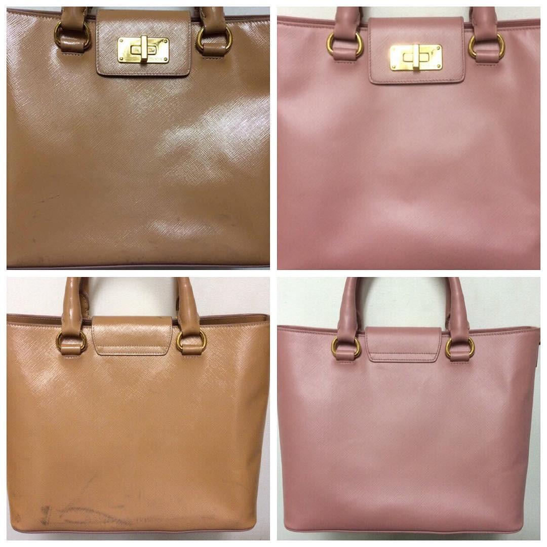 восстановление цвета на сумке
